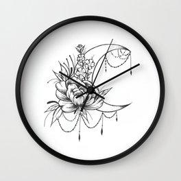 Feminine Moon - B&W Wall Clock