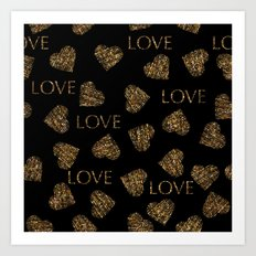 Valentines day gold seamless pattern with stylish heart and text. Gold trendy glitter print on black Art Print
