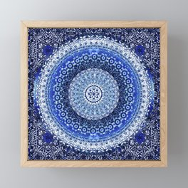 Cobalt Tapestry Mandala Framed Mini Art Print