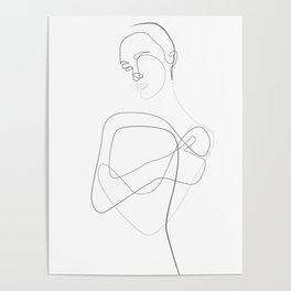 Abstract Female Body Line Illustration Poster