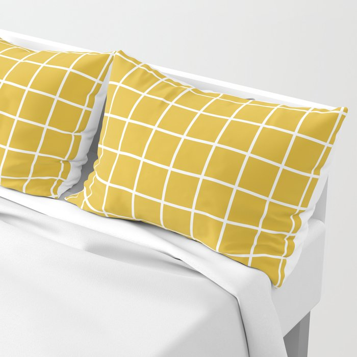 Minimalism Window Pane Grid, Mustard Yellow Pillow Sham