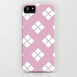 Modern pink white geometrical diamond shapes iPhone Case
