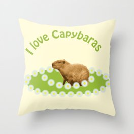 I love Capybaras Throw Pillow
