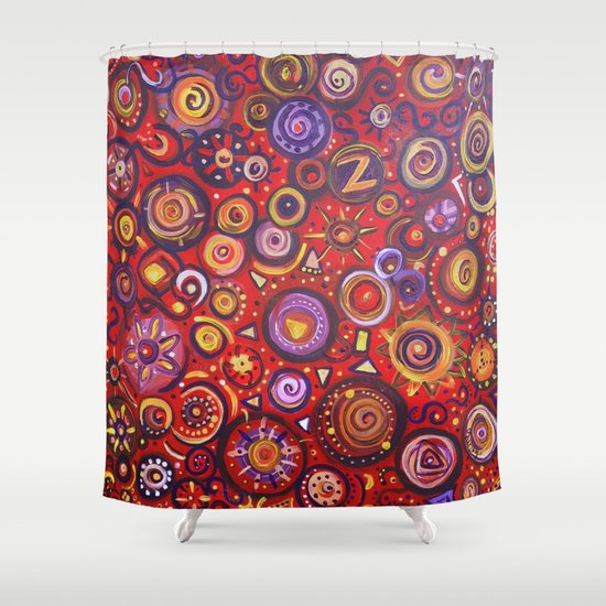 Red Square Abstract Painting Shower Curtain