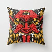 diablo Throw Pillows featuring DIABLO by MIRKOW GASTOW