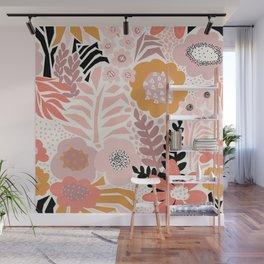 Large Pastel Floral Pattern Orange Pink White Black Gold Meadow Wall Mural