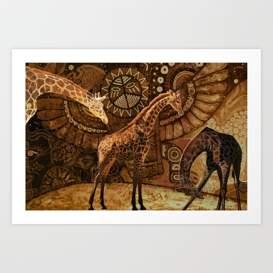 Three Giraffes Art Print
