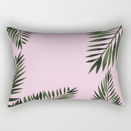 Watercolor tropical palm leaves pink Rectangular Pillow