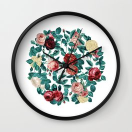 Vintage Roses Round Wall Clock