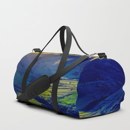Mountain Valley Landscape Green Field Blue Green Yellow Hues Duffle Bag