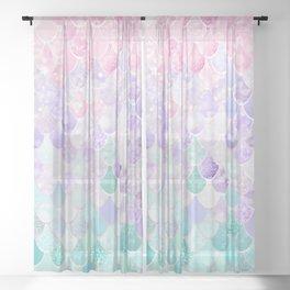 Cute Mermaid Pattern, Light Pink, Purple, Teal Sheer Curtain