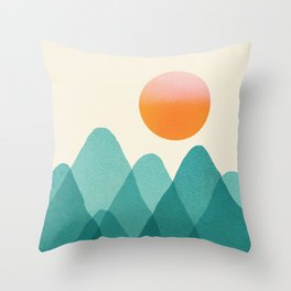 Abstraction_Mountains_SUNSET_Landscape_Minimalism_003 Throw Pillow