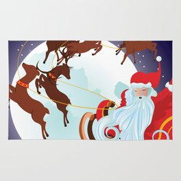 Santa Riding Christmas Sleigh at Night Rug