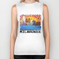 milwaukee Biker Tanks featuring 8 Bit Milwaukee by Amanda Iglinski
