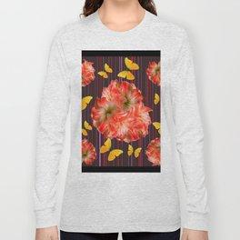 Decorative yellow Butterflies Pink Flowers Puce Long Sleeve T-shirt