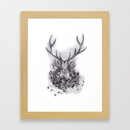 Deer with a Wreath of Roses Framed Art Print