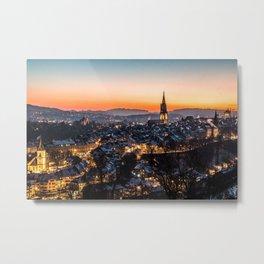 Bern Switzerland Night Skyline Metal Print