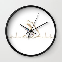 Climbing Climber Mountaineer Mountain Heartbeat Wall Clock