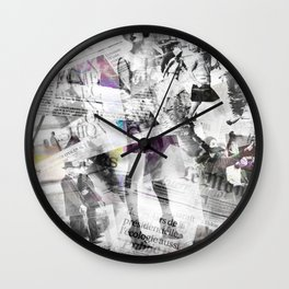 Newspaper collage Wall Clock
