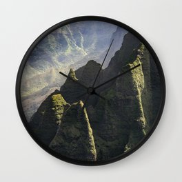 Hawaii: Divine Light Over Napali Cliffs Wall Clock