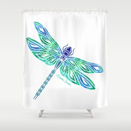 Tribal Dragonfly Blues and Greens Shower Curtain