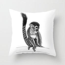 Squirrel monkey - ink illustration Throw Pillow