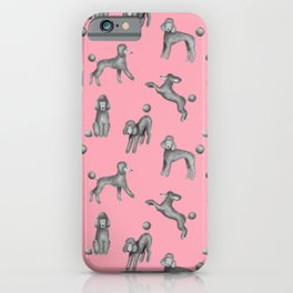 Gray Poodles Pattern (Pink Background) iPhone Case