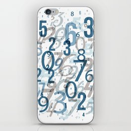 All the numbers, blue and taupe iPhone Skin