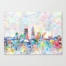 indianapolis city skyline watercolor 7 Canvas Print