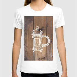 Farmhouse Chic Primitive Barnboard French Press Roasted Coffee Brewer  T-shirt