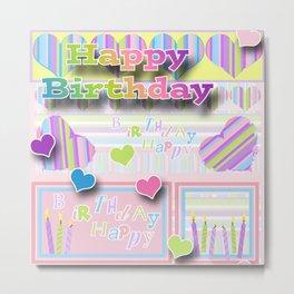 Happy Birthday Collage Metal Print