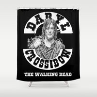 daryl Shower Curtains featuring Daryl & his Cross-Bow by SwanniePhotoArt