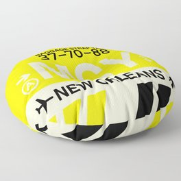 MSY New Orleans • Airport Code and Vintage Baggage Tag Design Floor Pillow