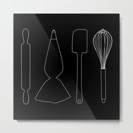 Baking Tools Black Metal Print