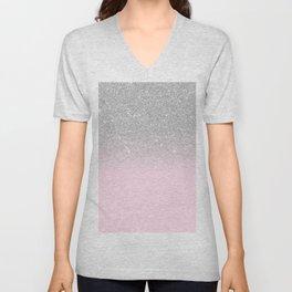 Chic Elegant Blush Pink Silver Glitter Gradient Unisex V-Neck