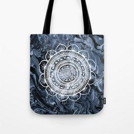 White Acacia on Liquid Silver Tote Bag