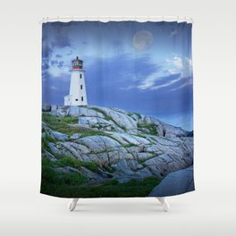 Lighthouse at Peggy's Cove in the Moonlight Shower Curtain