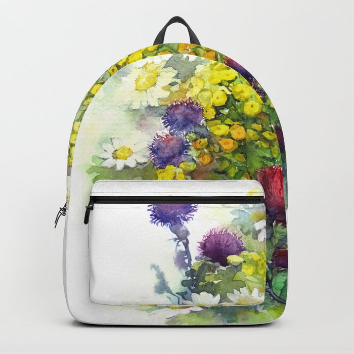 Watercolor meadow flowers Backpack