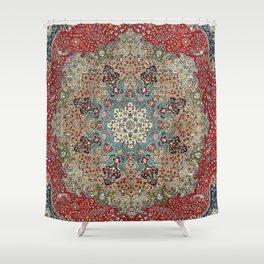 Antique Red Blue Black Persian Carpet Print Duschvorhang