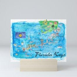 Florida Keys Key West Marathon Key Largo Illustrated Travel Poster Favorite Map Tourist Highlights Mini Art Print