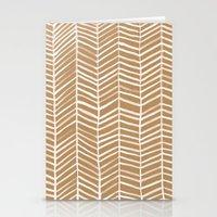 herringbone Stationery Cards featuring Kraft Herringbone by Cat Coquillette