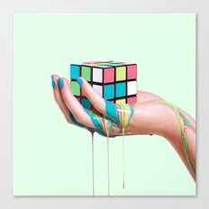 MELTING RUBIKS CUBE Canvas Print