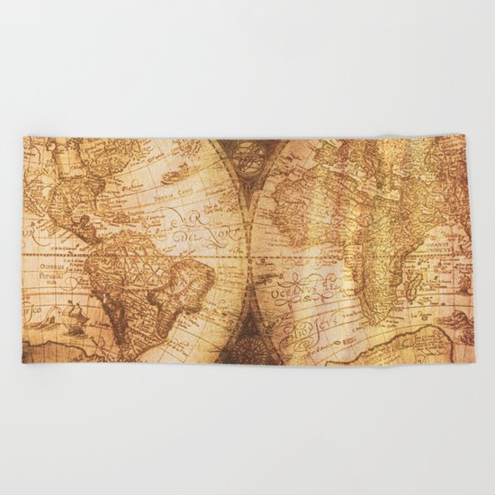 Antique World Map on Wood Beach Towel