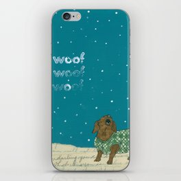 Dogs In Sweaters Barking at Stars or Snow iPhone Skin