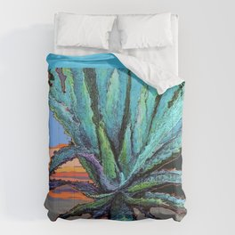 BLUE MODERN ART AQUA DESERT AGAVE CACTUS Comforters