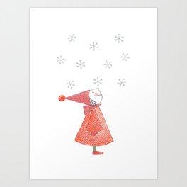 Gnome First Snow Art Print