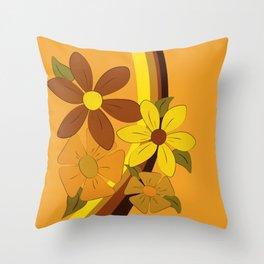 1970s Floral Throw Pillow