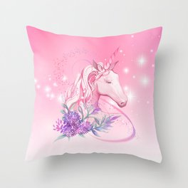 Unicorn in Pink Throw Pillow