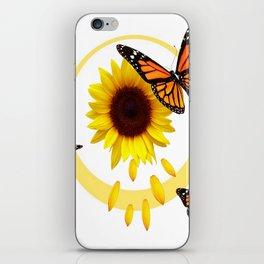 ORANGE MONARCH BUTTERFLIES & SUNFLOWER  PATTERN iPhone Skin