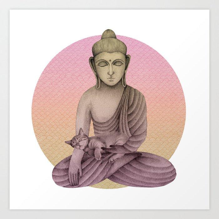 Buddha with cat 6 Art Print